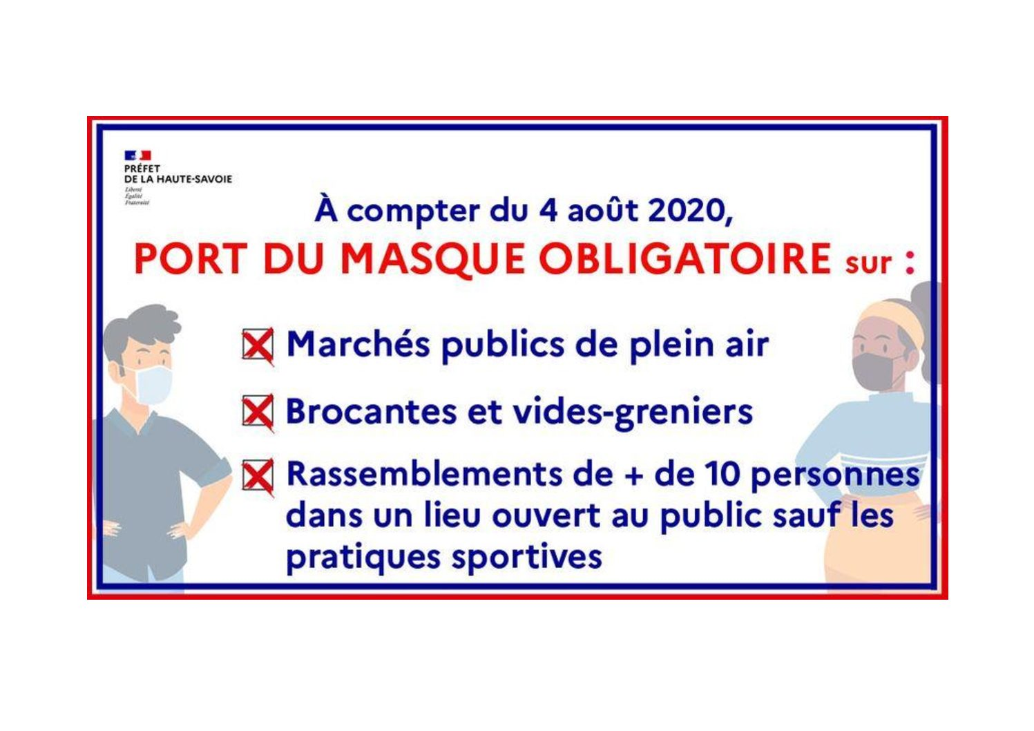 COVID-19 : Port Du Masque Obligatoire Par Arrêté Préfectoral Du 4 Août 2020